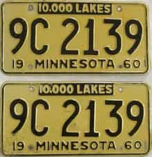1960 Minnesota (Pair) license plate for sale