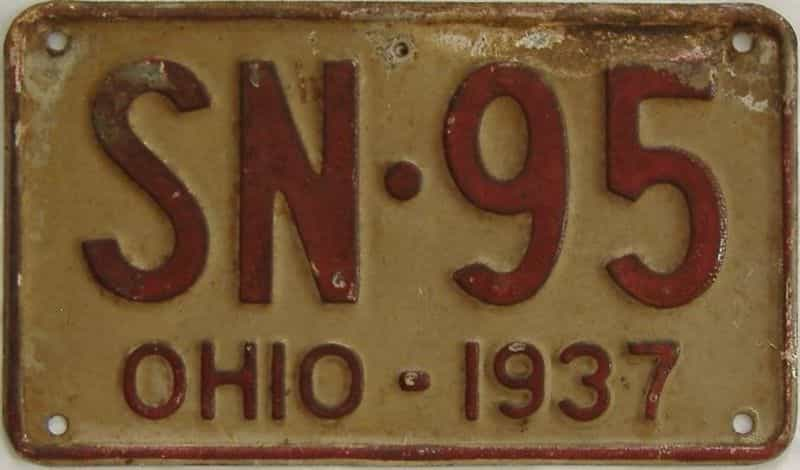 1937 OH (Single) license plate for sale