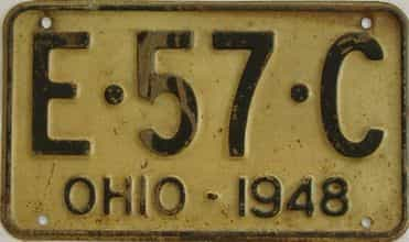 1948 Ohio  (Single) license plate for sale