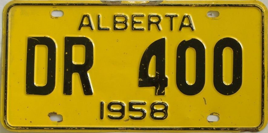 1958 Alberta (Single) license plate for sale