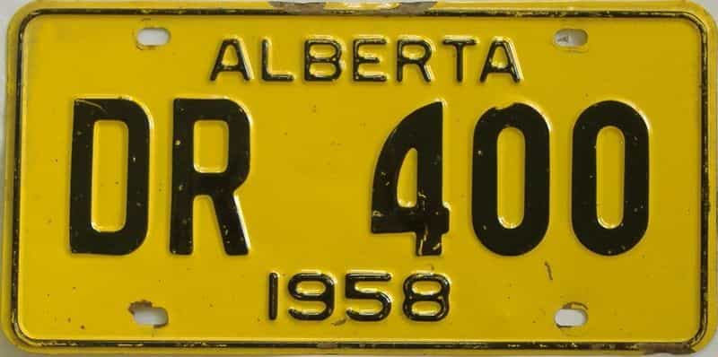 1958 Alberta (Single) license plate for sale