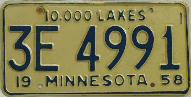 1958 MN (Single) license plate for sale