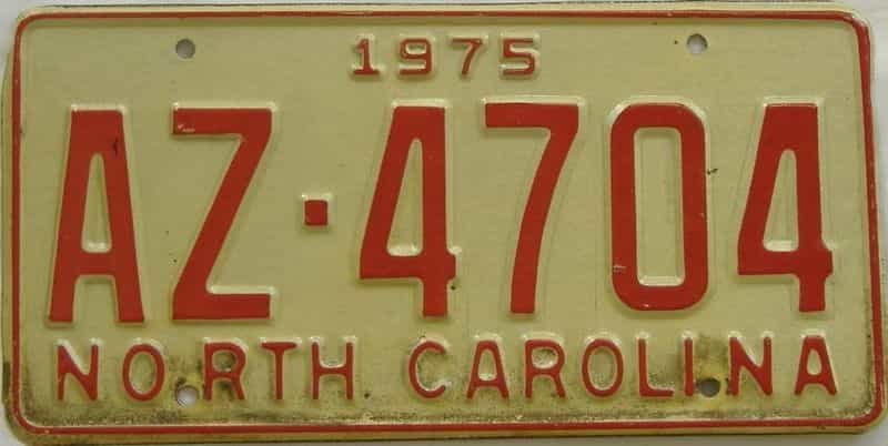 1975 NC (Truck) license plate for sale