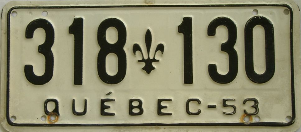 1953 Quebec (Single) license plate for sale