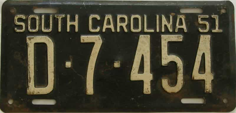 1951 South Carolina  (Single) license plate for sale