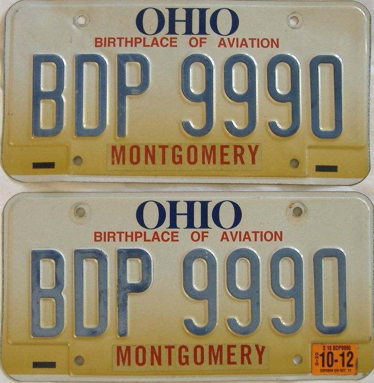 2012 Ohio (Pair) license plate for sale