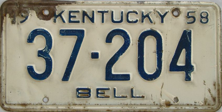 1958 Kentucky license plate for sale