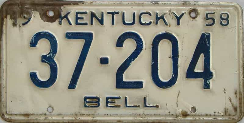 1958 KY license plate for sale
