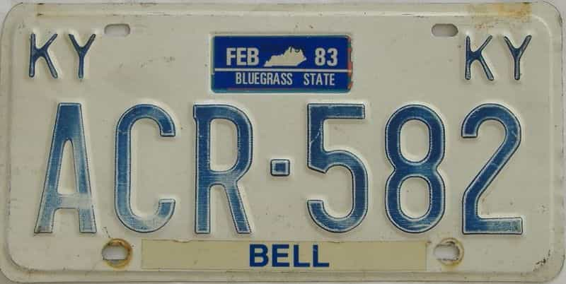 1983 Kentucky license plate for sale