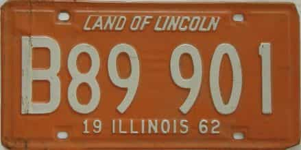 1962 Illinois (Single) license plate for sale