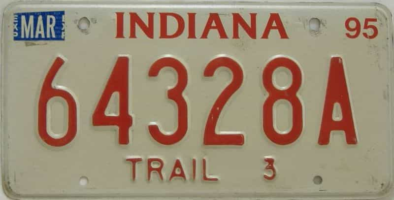 1995 Indiana  (Non Pass) license plate for sale