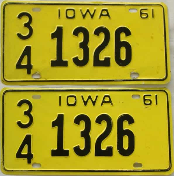 1961 Iowa  (Pair) license plate for sale