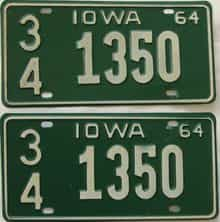 1964 Iowa  (Pair) license plate for sale