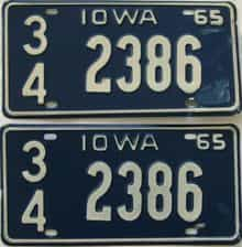 1965 Iowa  (Pair) license plate for sale
