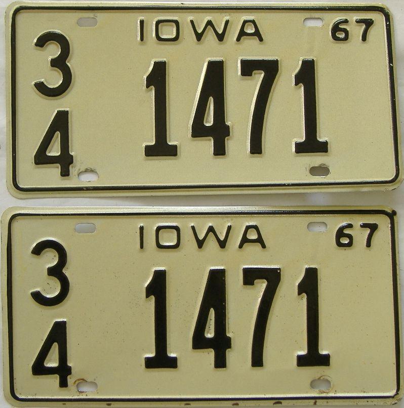 1967 Iowa (Pair) license plate for sale