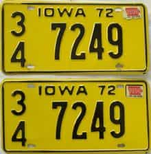 1974 Iowa (Pair) license plate for sale