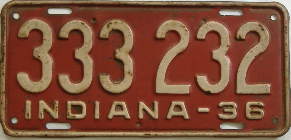 1936 Indiana license plate for sale