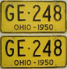 1950 Ohio (Pair) license plate for sale