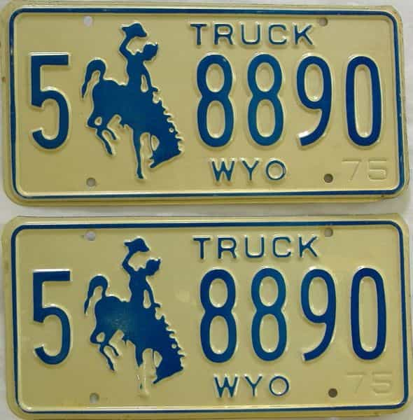 1975 WY (Truck) license plate for sale