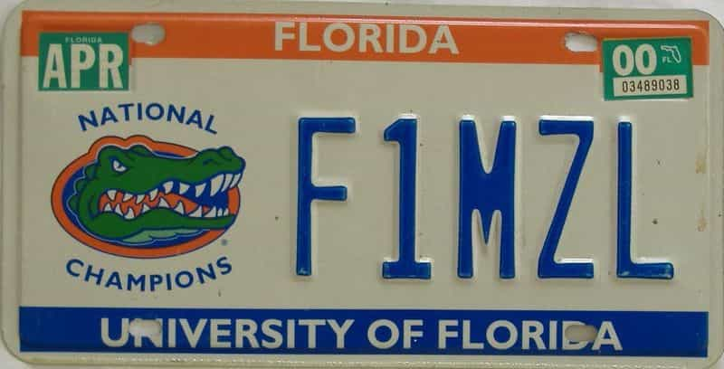 2000 Florida license plate for sale