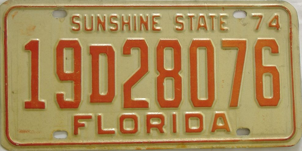 1974 Florida license plate for sale