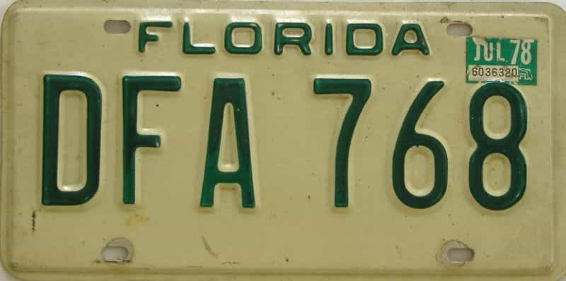 1978 Florida license plate for sale