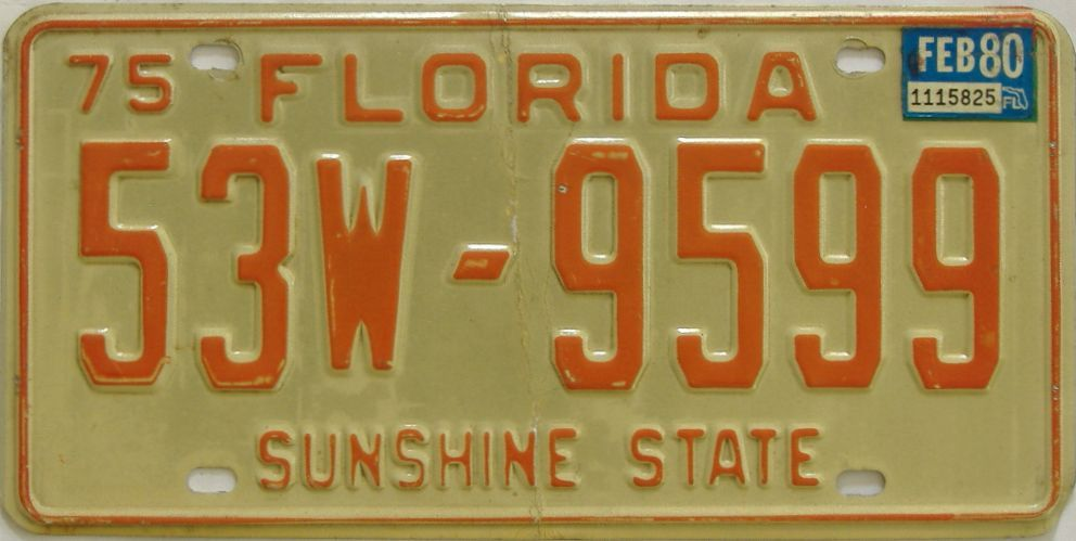 1980 Florida license plate for sale