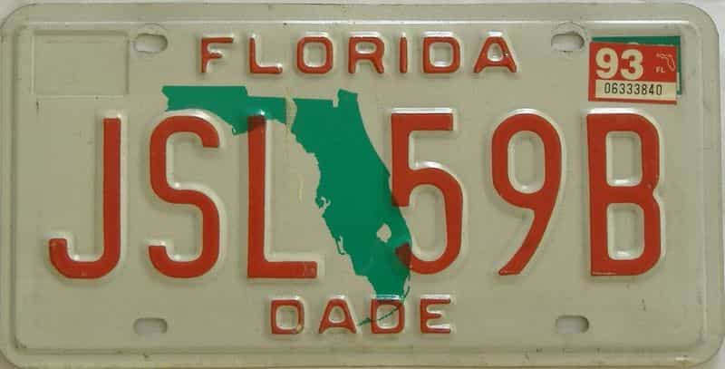 1993 FL license plate for sale