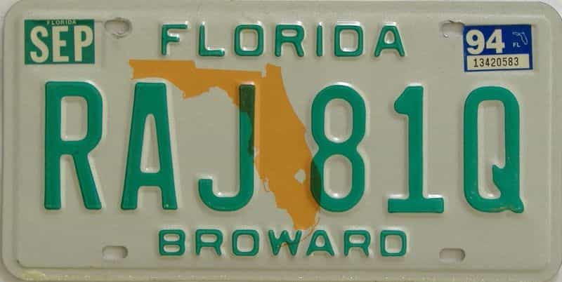 1994 Florida license plate for sale