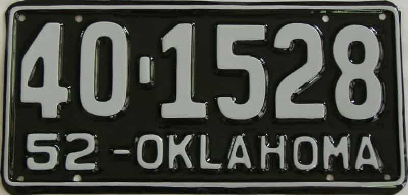 RESTORED 1952 OK license plate for sale