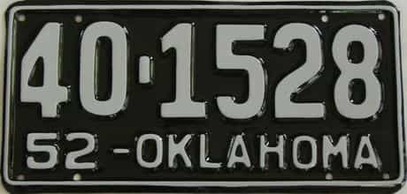 RESTORED 1952 Oklahoma license plate for sale