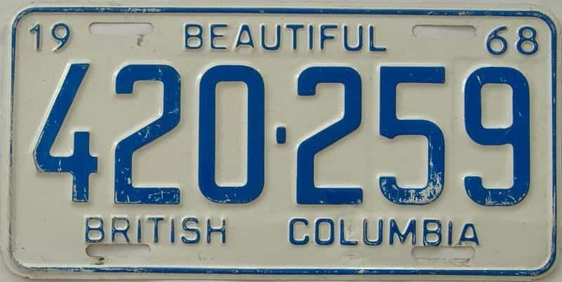 1968 British Columbia (Single) license plate for sale