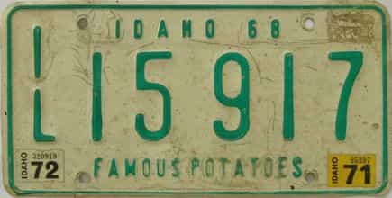 1972 Idaho (Single) license plate for sale