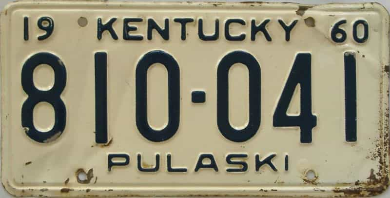 1960 Kentucky license plate for sale