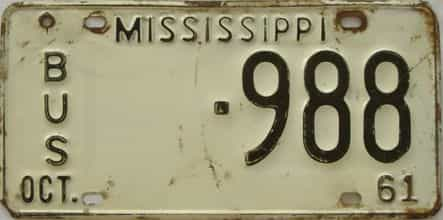 1961 Mississippi license plate for sale