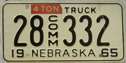 1965 Nebraska (Truck) license plate for sale