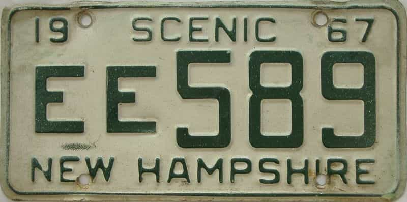 1967 New Hampshire  (Single) license plate for sale