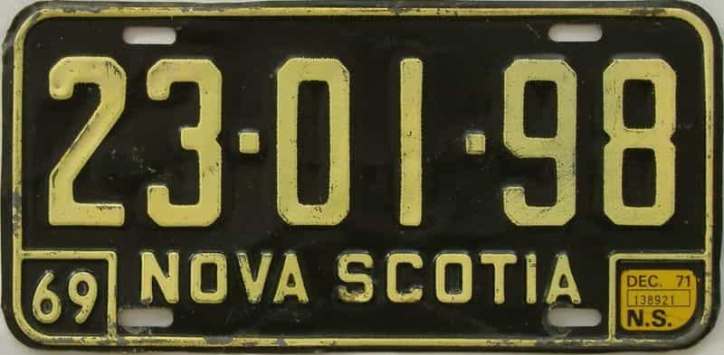 1971 Nova Scotia (Single) license plate for sale