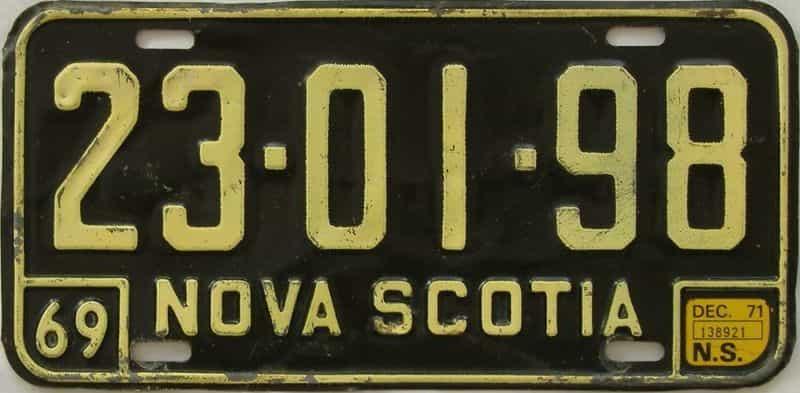 1971 CANADA (Nova Scotia) license plate for sale