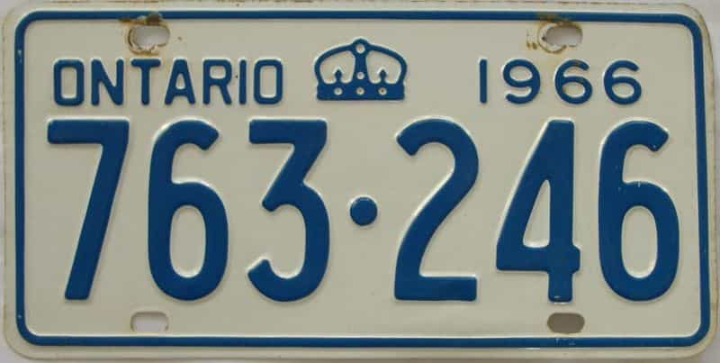 1966 Ontario (Single) license plate for sale