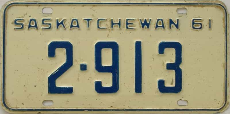 1961 Saskatchewan (Single) license plate for sale