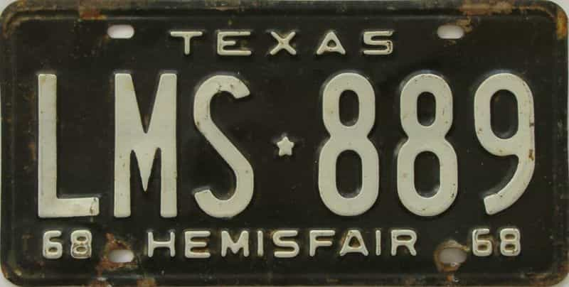 1968 TX (Single) license plate for sale