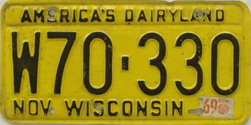 1969 Wisconsin  (Single) license plate for sale