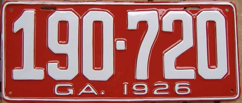 YOM RESTORED 1926 GA license plate for sale