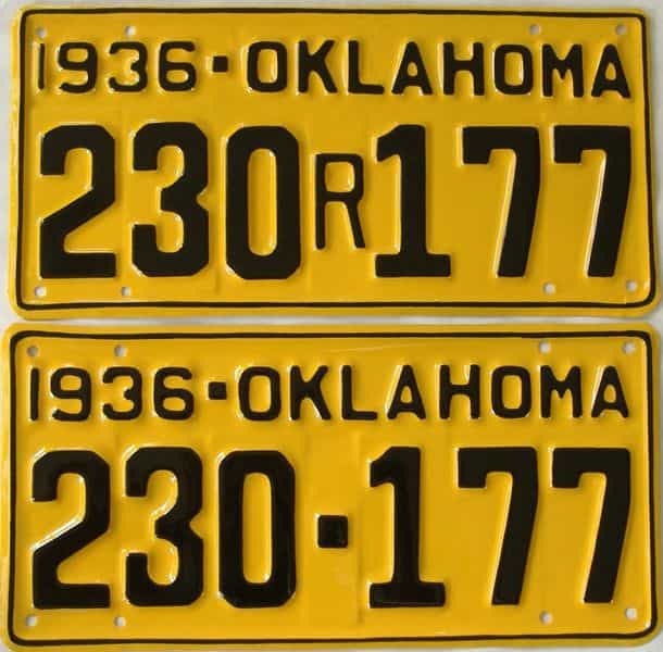 RESTORED 1936 OK (Pair) license plate for sale