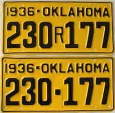 RESTORED 1936 Oklahoma (Pair) license plate for sale