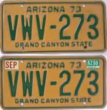1980 Arizona (Natural Pair) license plate for sale