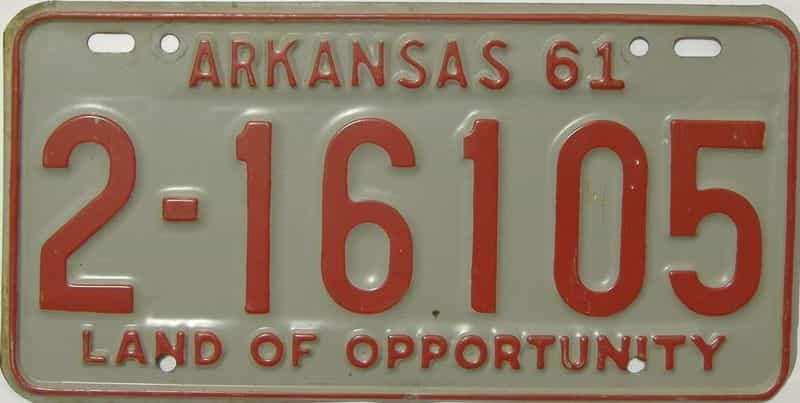 1961 AR license plate for sale
