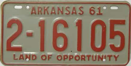 1961 Arkansas license plate for sale