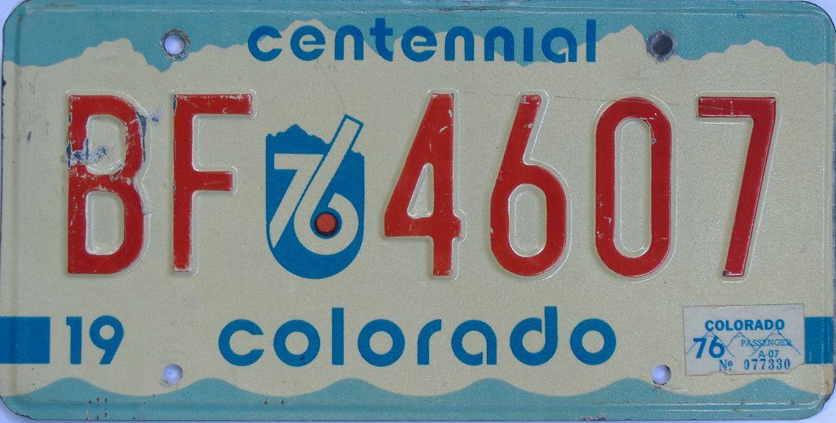 1976 Colorado (Single) license plate for sale